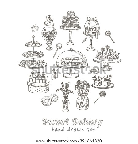 Vector hand drawn set with sweets and candies. Vintage illustration for design menus, recipes and packages product. - stock vector