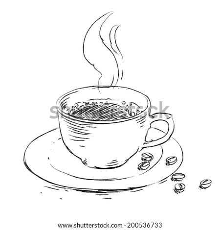 Vector hand drawn sketch cup of coffee and coffee beans