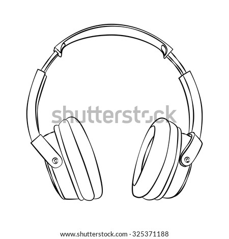 vector hand-drawn sketch of headphones against white background. EPS - stock vector