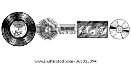 Vector hand drawn sketch of media evolution set in ink hand drawn style. Vinyl record, tape reel, compact tape cassette, VHS and compact disc. isolated on white. - stock vector