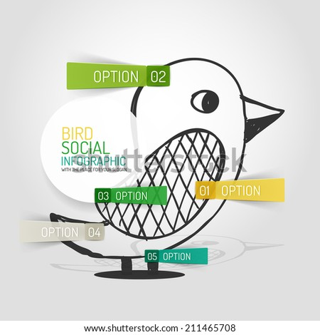 Vector hand drawn social bird design and infographic option stickers, business info diagram - stock vector