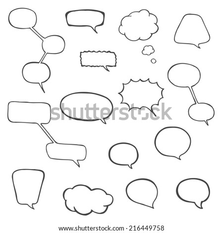 Vector hand drawn speech bubbles. - stock vector