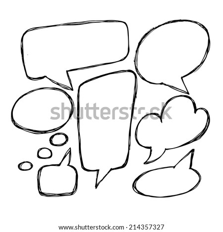 Vector hand drawn speech bubbles. Hand drawn doodle vector text box collection.