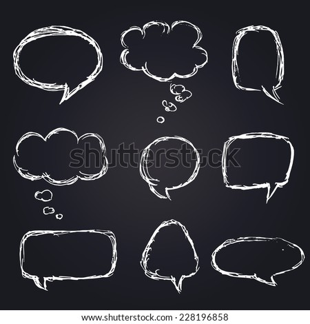 Vector Hand Drawn Speech Bubbles Set, Chalk on Blackboard - stock vector