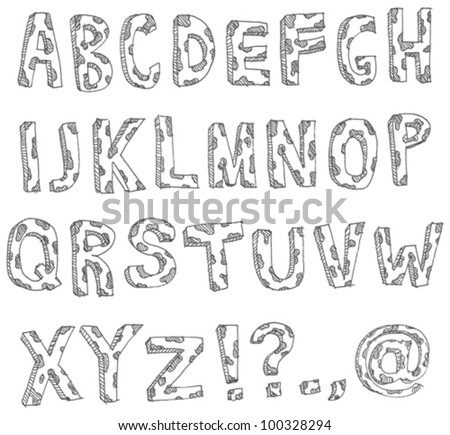 Vector hand drawn spotted alphabet - stock vector