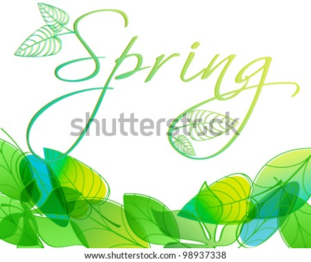 Vector hand drawn style beautiful spring leaves background illustration