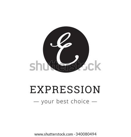 Vector hand drawn style elegant letter logo. Brand sign - stock vector