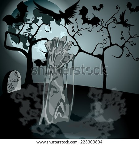 Vector hand drawn style Halloween illustration with undead zombie rising from the grave in front of the full Moon - stock vector