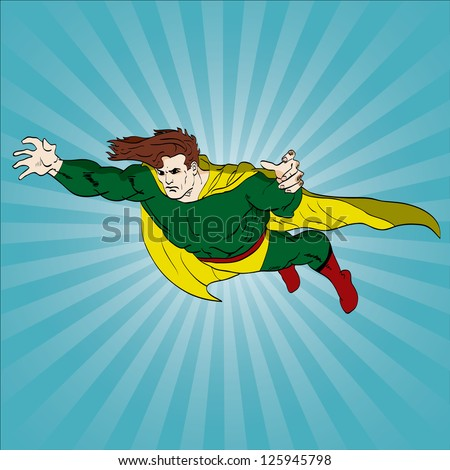 Vector hand drawn superhero flying
