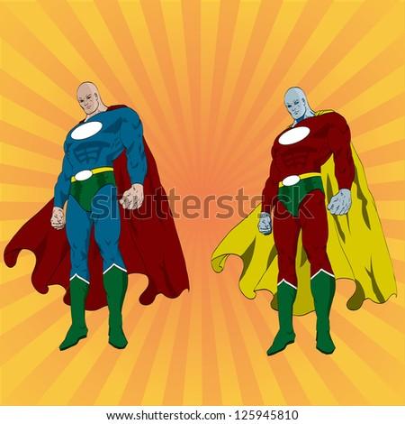 Vector hand drawn superhero posing - stock vector