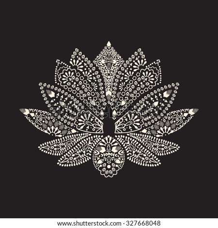 Vector Hand drawn tattoo element Henna Lotus Mehndi. Tattoo beautiful flower - stock vector