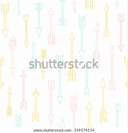 Vector hand drawn tribal arrows seamless pattern