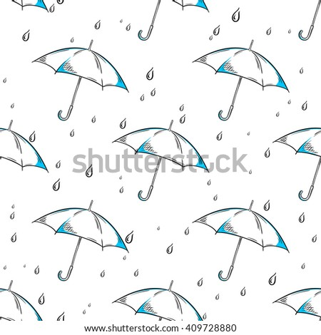vector hand drawn umbrella and rain drops pattern.