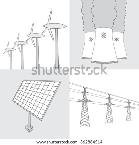 Vector hand drawn various sources of energy collection. Nuclear Power Plant, wind turbines, solar panels and electric power sketches