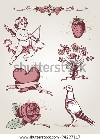 Vector hand drawn vintage elements for Valentine's Day - stock vector