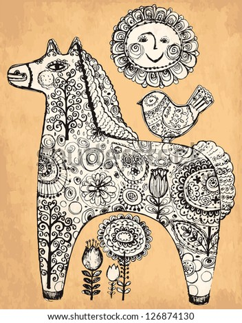 Vector hand drawn vintage illustration with decorative horse - stock vector