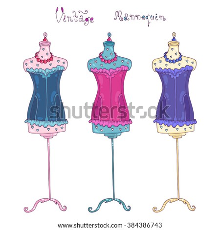 Vector hand-drawn vintage mannequins. Three multi-colored mannequin with corsets, beads, heart print. Handwriting vintage mannequin. Retro style. On a white background
