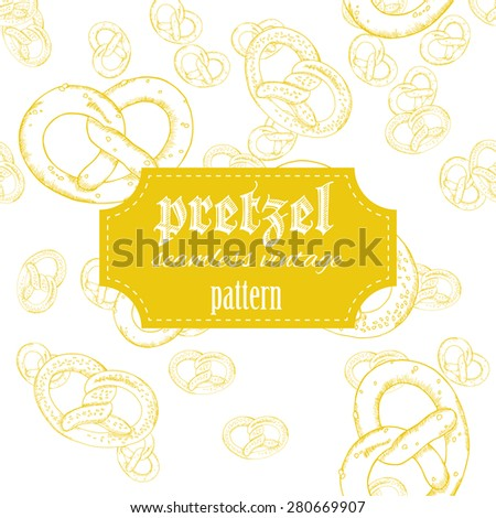 vector hand drawn vintage seamless pattern with pretzel