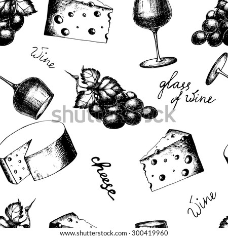 Vector hand-drawn vintage wine seamless pattern in sketch style. The bottle of wine, glass of wine, cheese, grape.  - stock vector