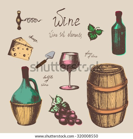 Vector hand-drawn vintage wine set in sketch style. The bottle of wine, glass of wine, wine barrel, cheese, grape, corkscrew, cheese knife. Wine elements for design. - stock vector