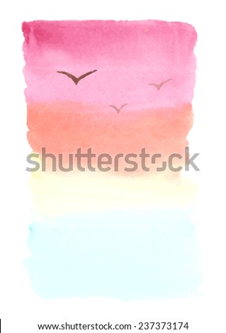 Vector hand-drawn watercolor background, landscape with sea, sunset and seagulls. Colourful template for your text - stock vector