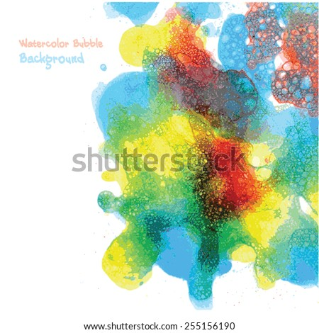 Vector hand drawn watercolor bubble background for you design. Abstract  - stock vector