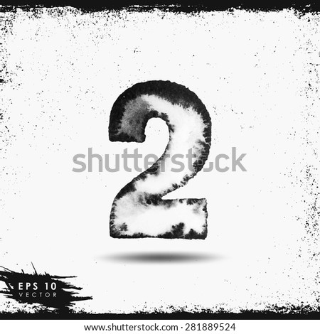 Vector hand-drawn watercolor grunge number two - stock vector