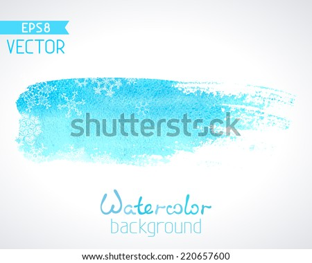 Vector hand-drawn watercolour background. White snowflakes on watercolour brush stripe isolated on white background. There is place for your text. - stock vector
