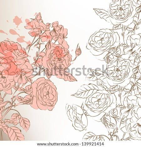 Vector hand drawn  wedding background design in classic floral style with roses - stock vector