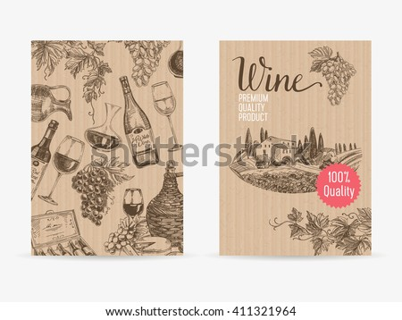 Vector hand drawn wine Illustration. Sketch. Vintage style. Retro background. Winery template design - stock vector