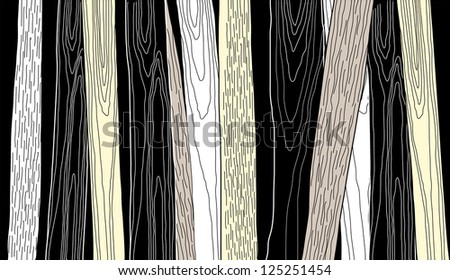 Vector Hand Drawn Wood Structure - stock vector
