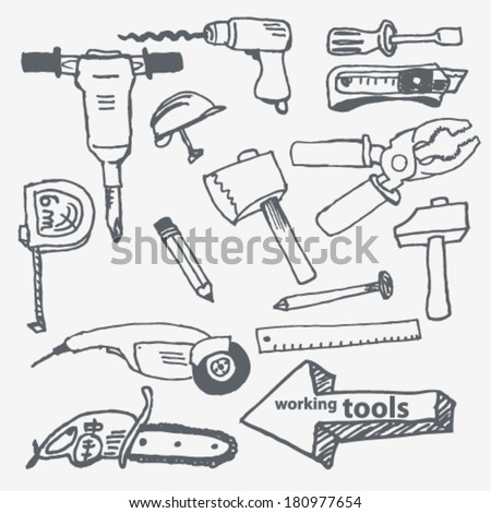 Vector hand-drawn working tools set on paper illustration - stock vector