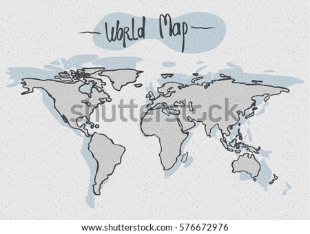 Vector Hand Drawn World Map Stock Vector (Royalty Free) 576672976 ...