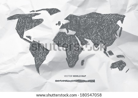Vector Hand Drawn World Map on Crumpled Paper Background - stock vector