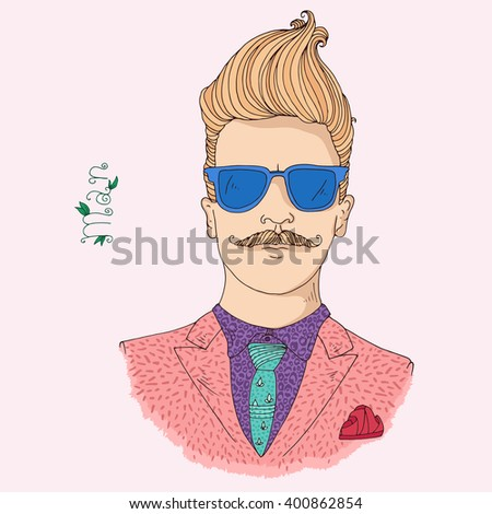 Vector hand drawn young trendy attractive man. Hipster guy, blond hair, pink jacket, green tie, purple shirt, blue sunglasses, red kerchief. Caption man. On a light pink background - stock vector