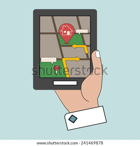 Vector Hand Holding a Touchpad GPS Flat Line Icon