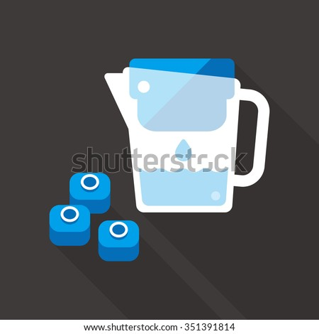 vector hand holding water filter jug with filter cartridge / water drop / purification concept icon, symbol / blue on dark grey - stock vector