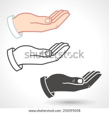 Vector Hand Icon Giving Gesture. - stock vector