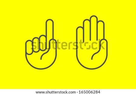 Vector Hand Icon Symbol Set - stock vector