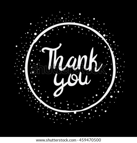 Vector Hand Lettering Thank You Card  - stock vector