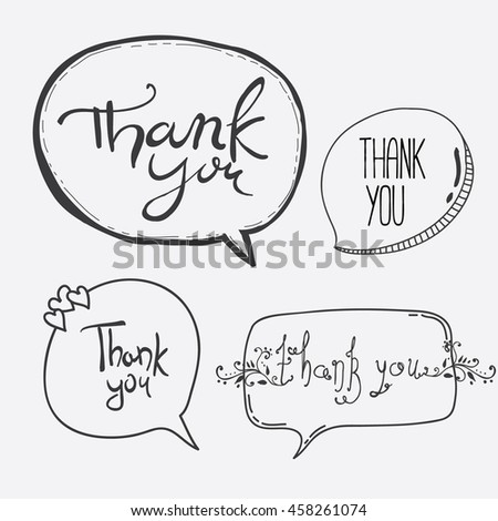 Vector Hand Lettering Thank You Overlays on Speech Bubbles - stock vector