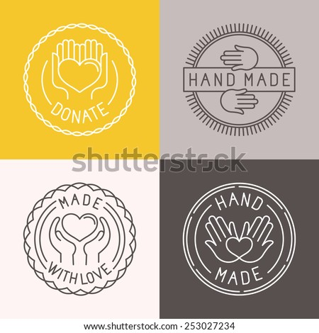 Vector hand made labels and badges in linear trendy style - hand made, made with love, donate - stock vector
