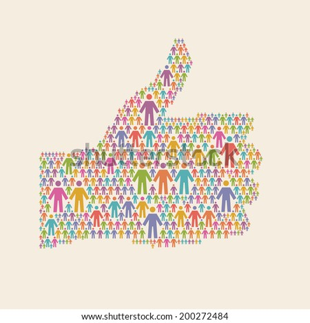 "Vector hand of thumbs up symbol of people colorful icon. Illustration with sign ""well"". Social media concept for web, print  - stock vector"