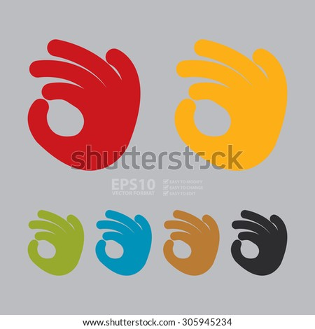 Vector : Hand OK Infographics Flat Icon, Sign - stock vector