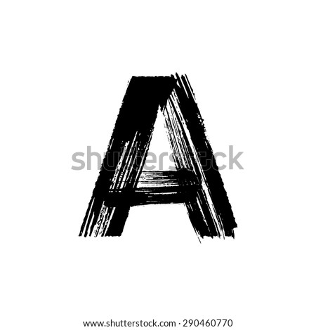 Vector hand paint letter A. Hand drawn letter with dry brush. - stock vector