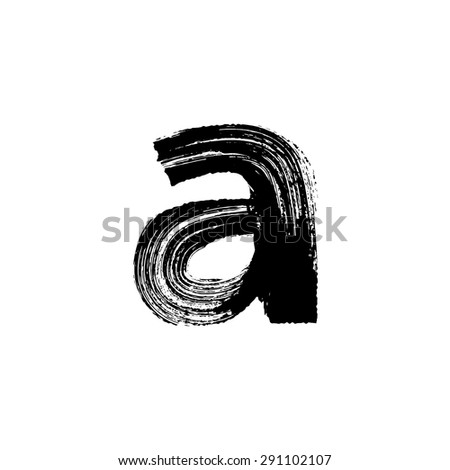 Vector hand paint letter a. Hand drawn letter with dry brush. Lower case