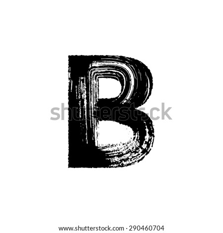 Vector hand paint letter B. Hand drawn letter with dry brush. - stock vector
