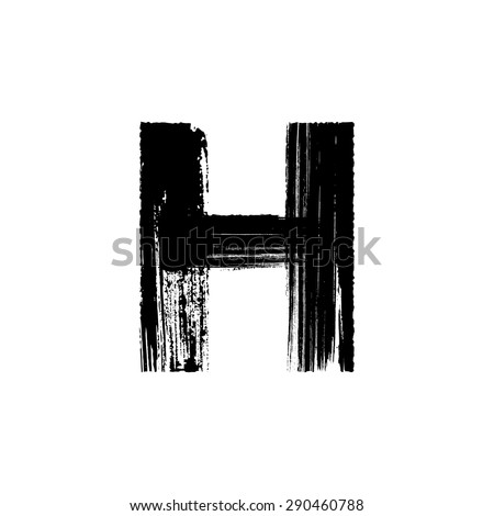 Vector hand paint letter H. Hand drawn letter with dry brush. - stock vector