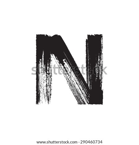 Vector hand paint letter N. Hand drawn letter with dry brush. - stock vector