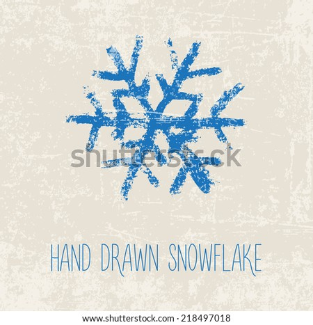 Vector hand painted grungy blue snowflake on beige weathered background - stock vector
